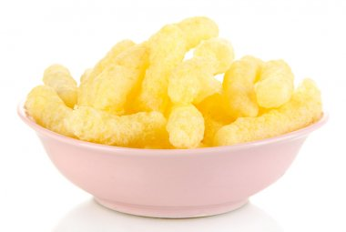 Air corn sticks in plate isolated on white