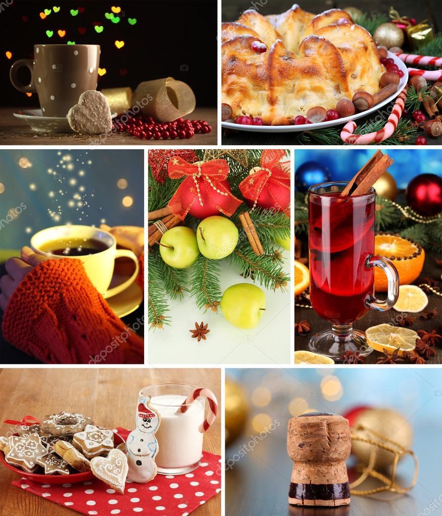 weihnachten collage mit leckeren speisen getr nken und. Black Bedroom Furniture Sets. Home Design Ideas