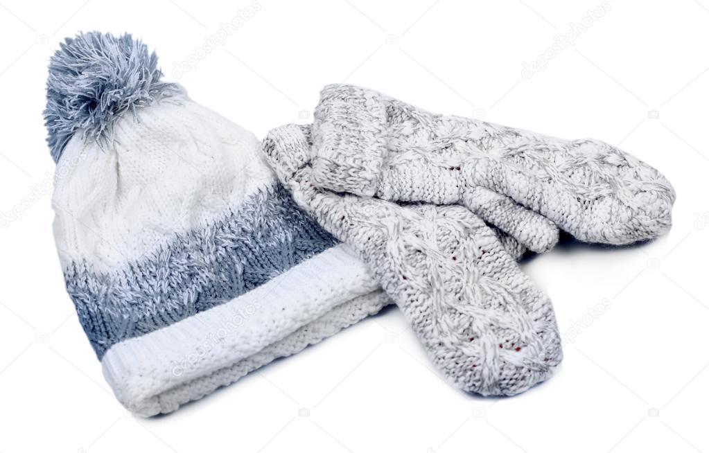 mujer punto guantes y gorro, aislado en blanco — Foto de stock ...