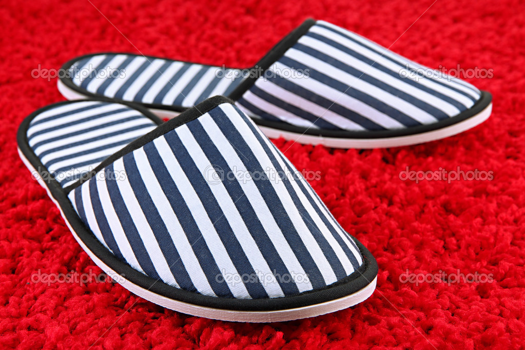 88c229396f8 Depositphotos stock photo striped slippers on carpet background jpg  1023x682 Alfombra slippers