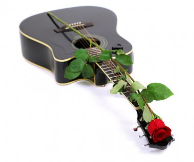 Acoustic guitar and red rose flower, isolated on white