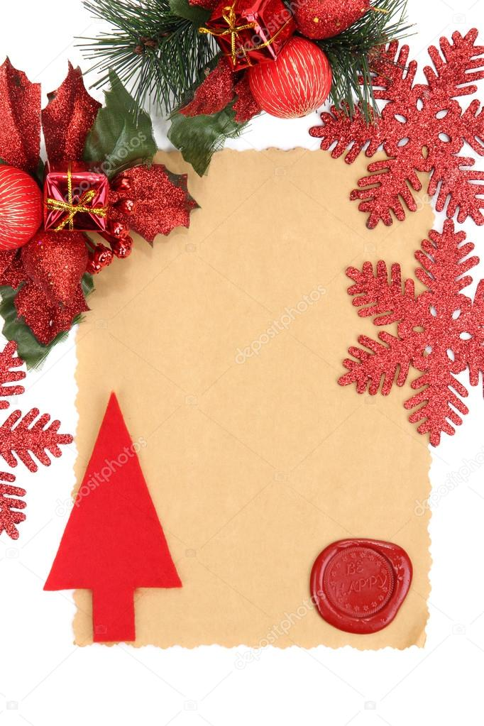 Frame With Vintage Paper And Christmas Decorations Close Up Stock