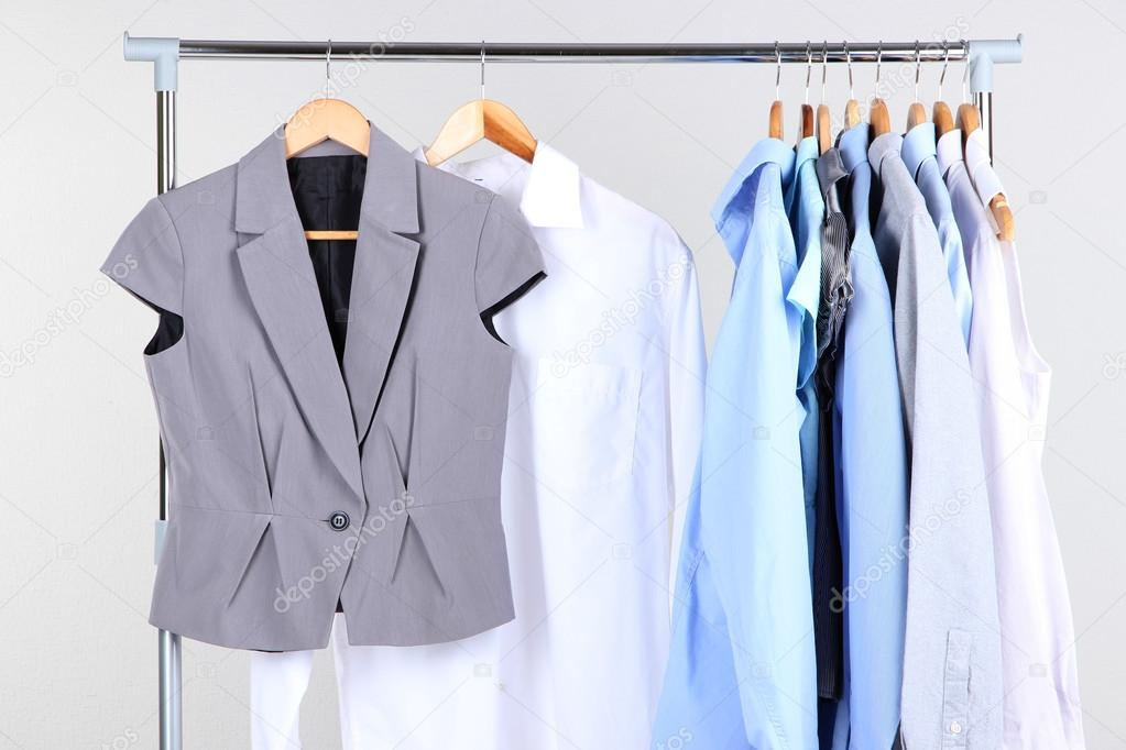 Office Clothes On Hangers, On Gray Background U2014 Stock Photo