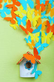 Paper butterflies fly out of nesting box on green wall background