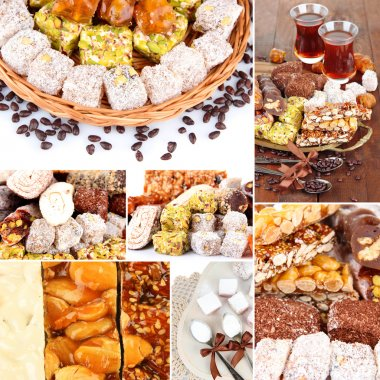 Tasty oriental sweets collage