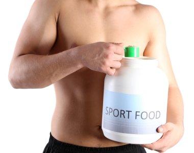 """Картина, постер, плакат, фотообои """"красивый молодой мускулистый спортсмен с белковой пищей, изолированный на белом """", артикул 37293615"""