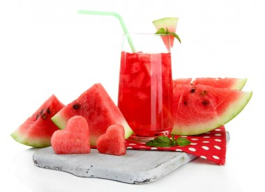 Fresh watermelon and glass of watermelon juice isolated on white