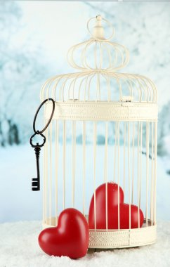 Hearts in decorative cage on winter background