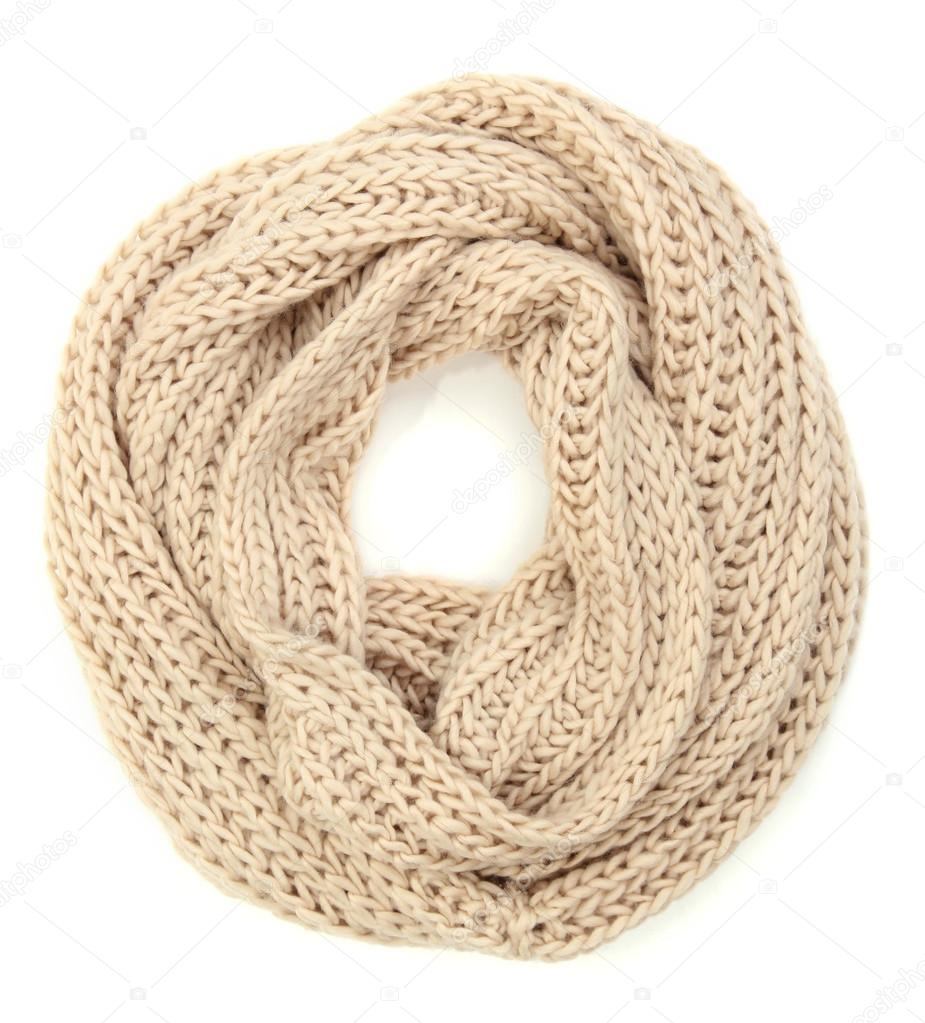 Warm knitted scarf isolated on white