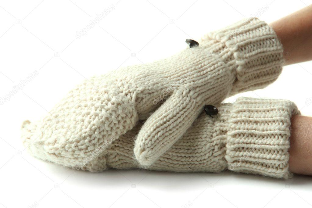 manos en guantes de lana, aislados en blanco — Fotos de Stock ...