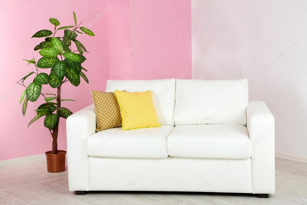White sofa in room on pink wall background — Stock Photo ...