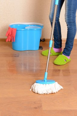House cleaning with mop