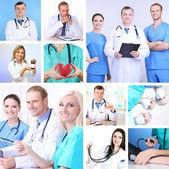 Koláž zdravotnického personálu v pracovním prostředí
