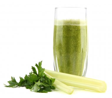 Glass of green vegetable juice and celery isolated on white