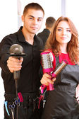 Fényképek fiatal férfi és nő fodrászat kozmetika