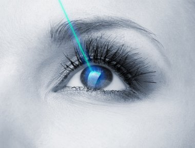 Laser vision correction. Woman's eye.