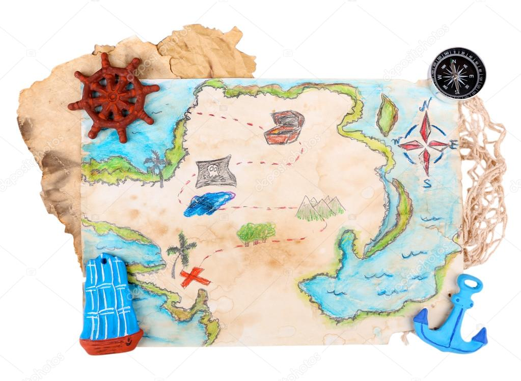 kincses térkép Kincses Térkép, tengeri kiegészítőkkel, elszigetelt fehér — Stock  kincses térkép