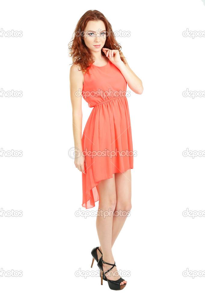 3e33b4378a8138 mooi meisje in jurk geïsoleerd op wit — Stockfoto © belchonock  40533391