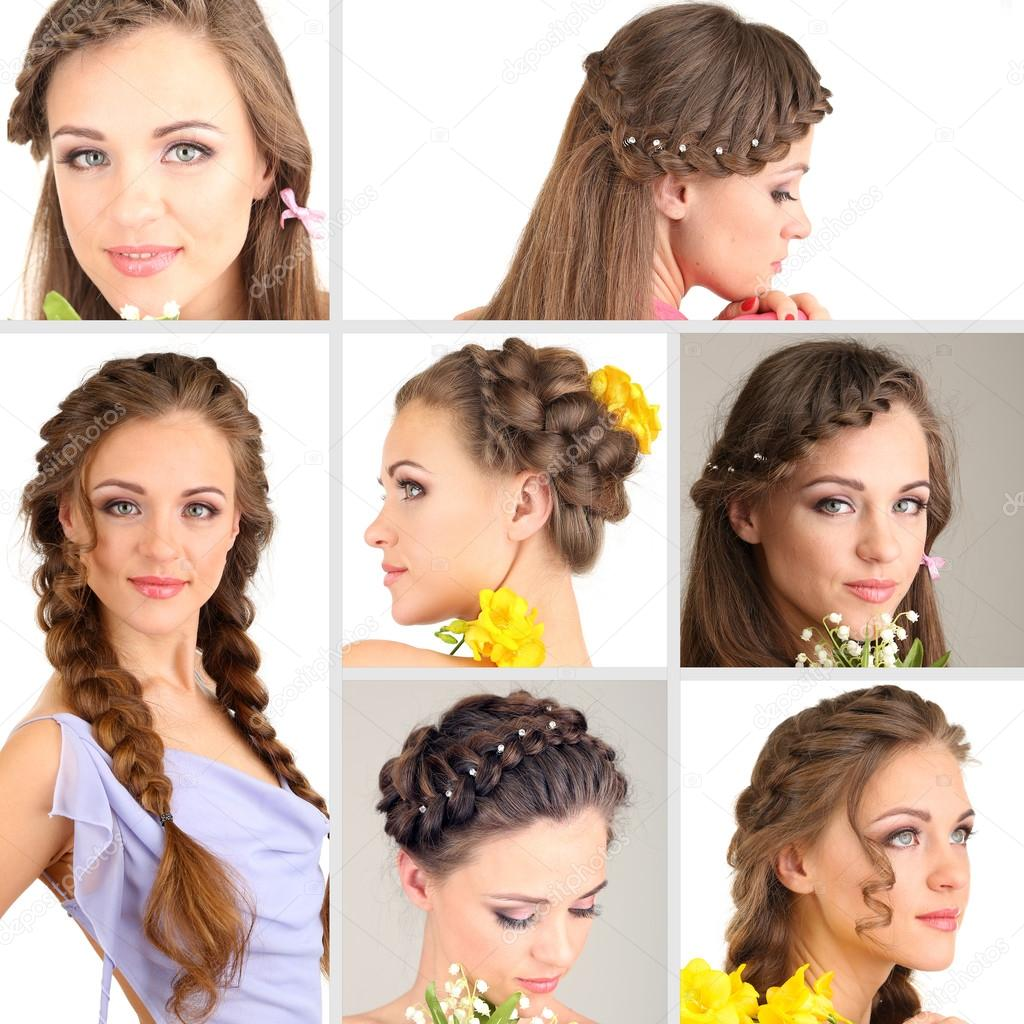 Collage Of Beautiful Girl With Different Hairstyles Stock Photo