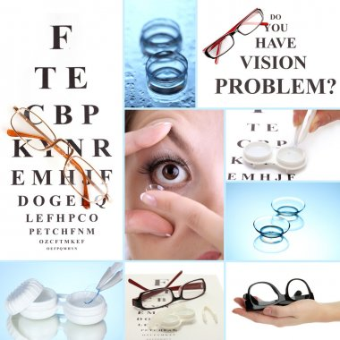 Collage of equipment for good vision, close-up