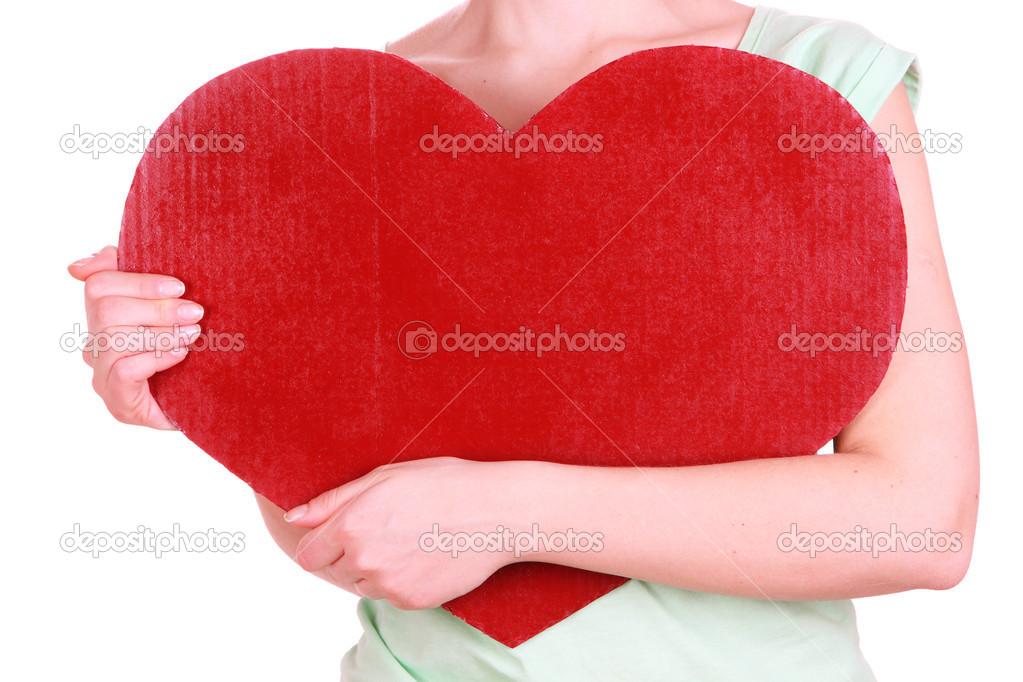 femme tenant gros coeur rouge isol sur blanc photographie belchonock 40819505. Black Bedroom Furniture Sets. Home Design Ideas