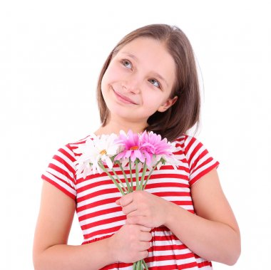 Beautiful little girl with flowers in her hand, isolated on white