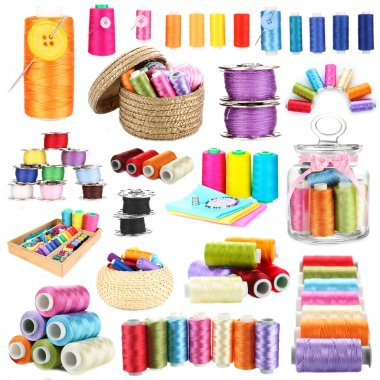 Collage of multicolored skeins of thread isolated on white