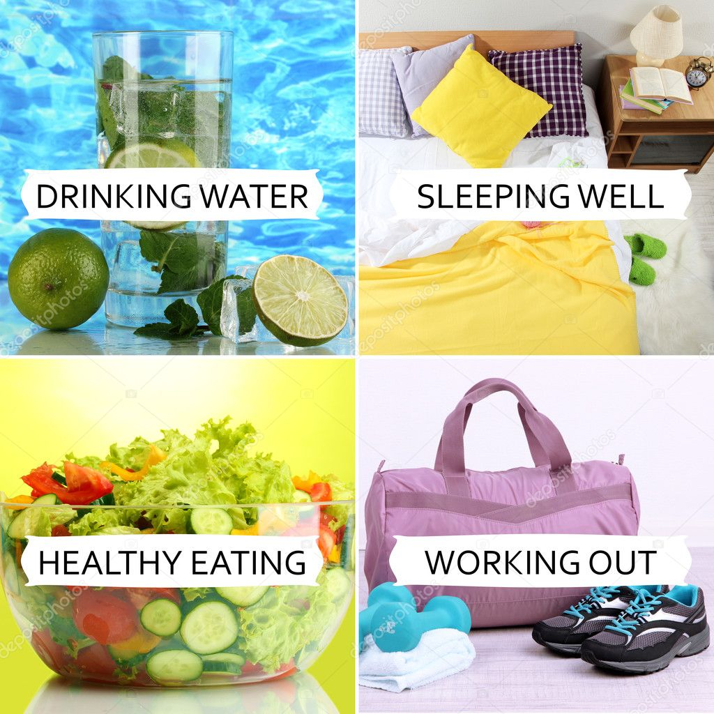 Collage of healthy lifestyle