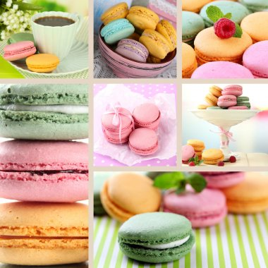 Tasty macaroons collage