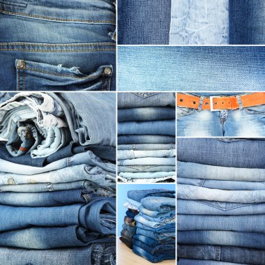 Collage of jeans close-up