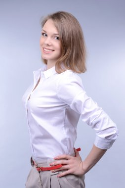 Business woman on grey background