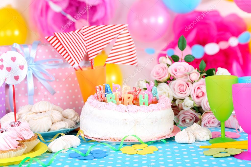 Festive table setting for birthday on celebratory decorations u2014 Stock Photo & Festive table setting for birthday on celebratory decorations ...