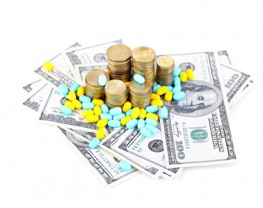 Prescription drugs on money background representing rising health care costs. Isolated on white