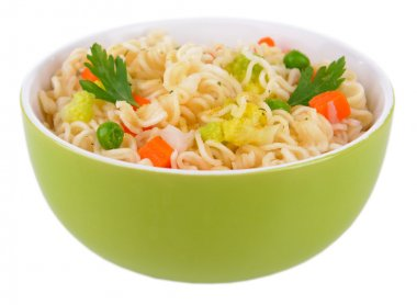 Tasty instant noodles with vegetables in bowl isolated on white