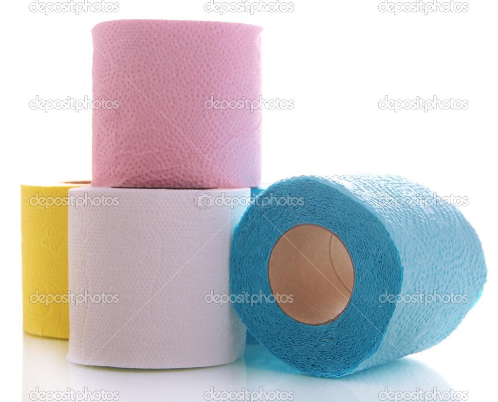 Rotoli Di Carta Colorata : Rotoli di carta igienica colorata isolati su bianco u foto stock