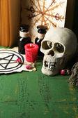 Fotografie Komposition mit Totenkopf, altem Buch, Zaubertränken, Kerze und trockenen Kräutern auf farbigem Holzgrund