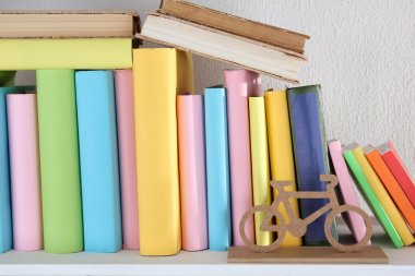 Books on shelf close-up