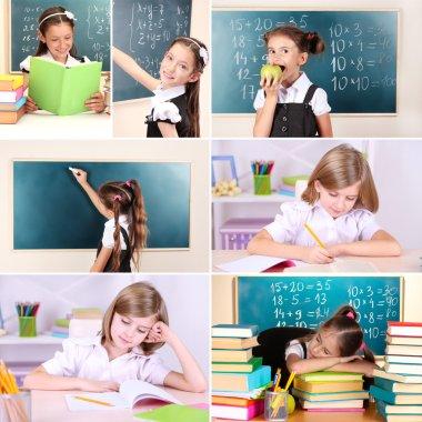 Collage of school children close-up