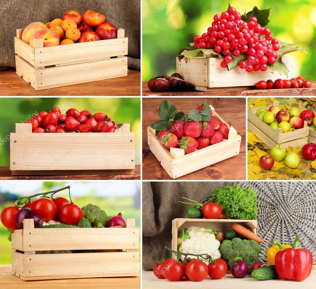 Collage de frutas y verduras en cajas de madera fotos de - Cajas madera frutas ...