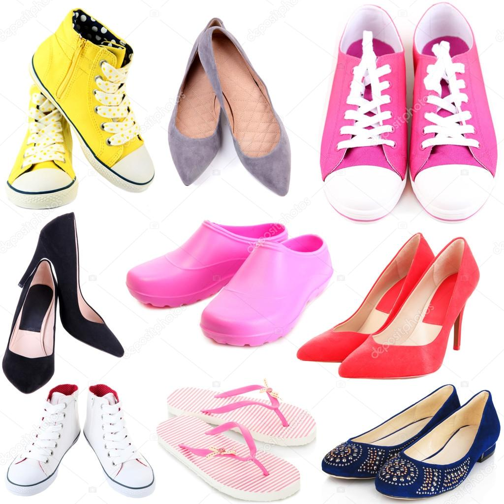 Collage of different shoes isolated on white stock photo belchonock 45903829 - Zapatos collage ...