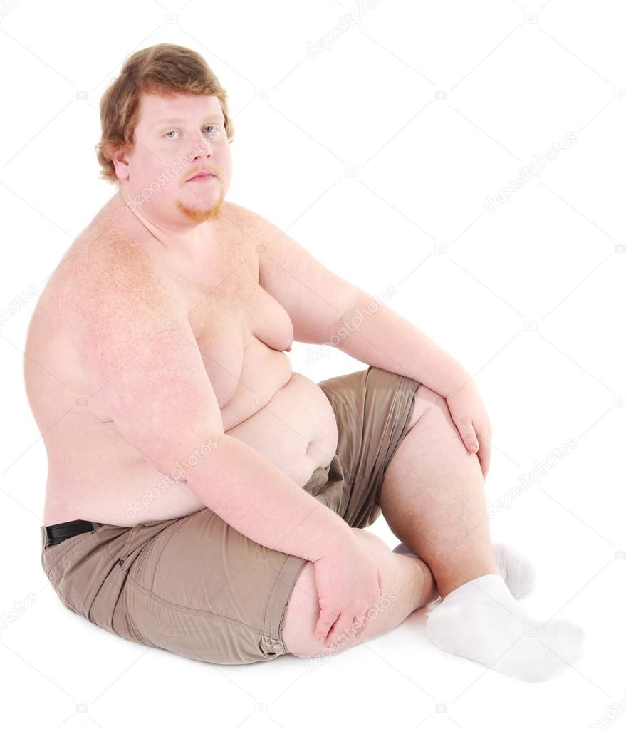 Sitting man Naked fat