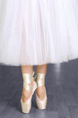 Ballerina legs in pointes in dancing hall
