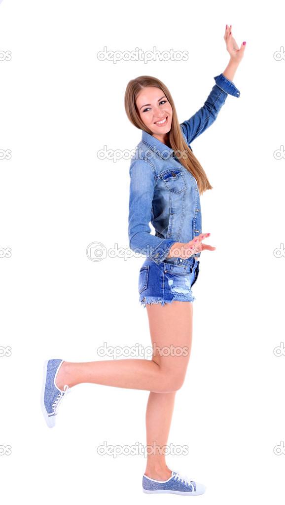 24f8d3658a6de Schöne junge Mädchen in kurzen Hosen, Jacke und T-shirt isoliert auf ...