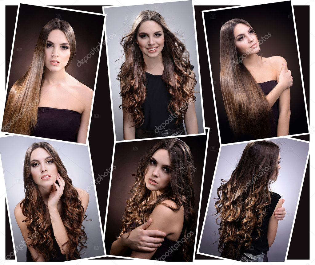 Fashion hairstyle collage. Beautiful girl with natural long hair