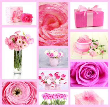 Collage of photos with flowers and gifts
