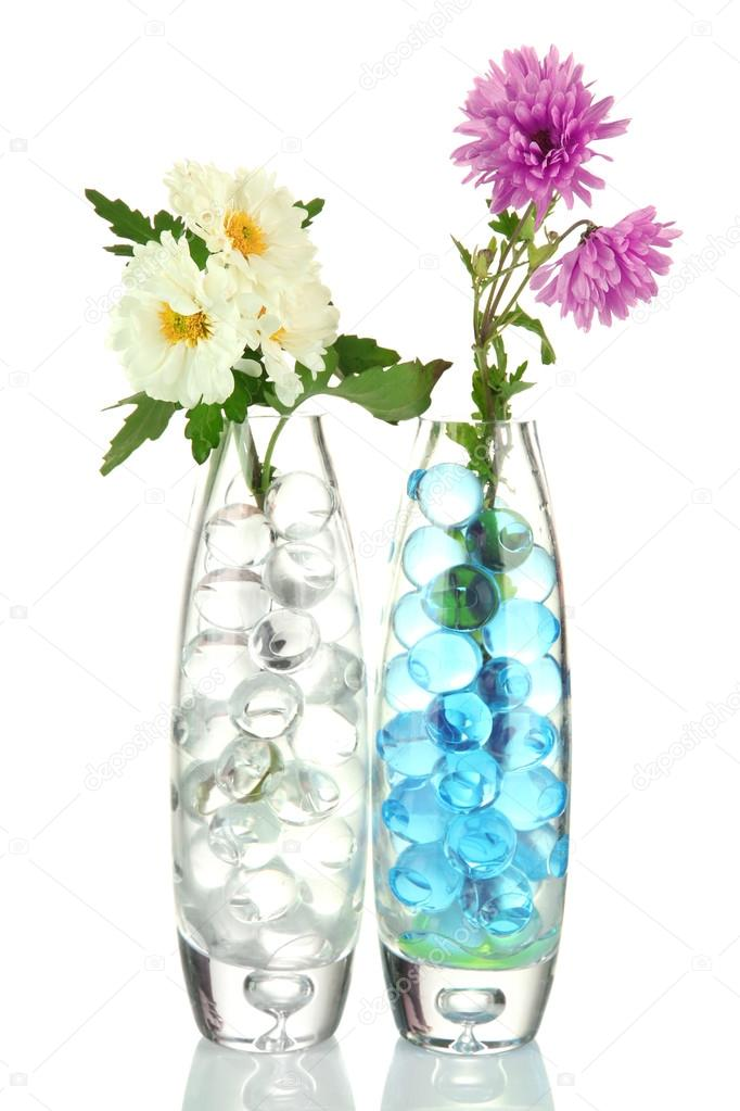 Beautiful Flowers In Vases With Hydrogel Isolated On White Stock