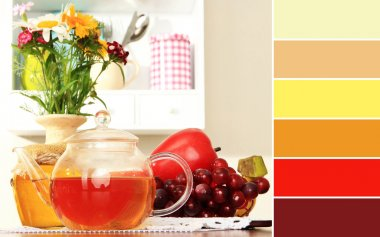 Kitchen composition. Color palette with complimentary swatches