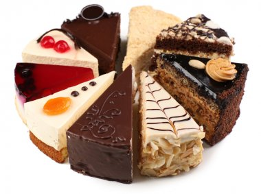 Assortment of pieces of cake, isolated on white
