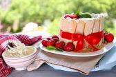 Chutný dort Charlotte s čerstvými jahodami na pozadí zelené přírody