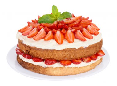 Delicious biscuit cake with strawberries isolated on white
